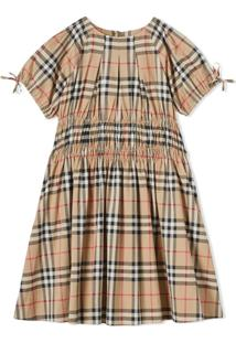 Burberry Kids Vestido Vintage Check Com Recorte Franzido - Neutro