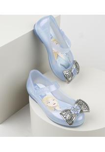 Sapatilha Infantil Grendene Elsa Frozen Transparente Com Laço Azul Claro