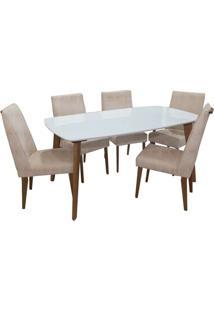 Mesa Laila Com 6 Cadeiras Canela / Off White