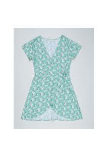 Vestido Juvenil Envelope Estampado Floral Manga Curta Verde Claro