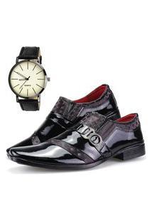 Sapato Social Dhl Calçados Neway Estampa Preto E Vinho + Relógio
