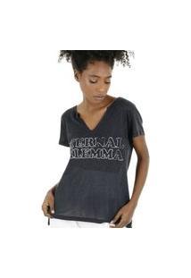 Camiseta Malha Podrinha Decote V E Silk