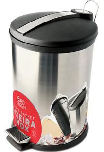 Lixeira Com Pedal- Inox & Preta- 12L- Euro Homeweuro Homeware