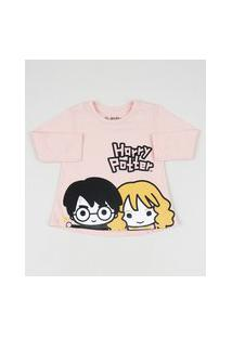 Blusa Infantil Harry Potter E Hermione Manga Longa Rosa Claro