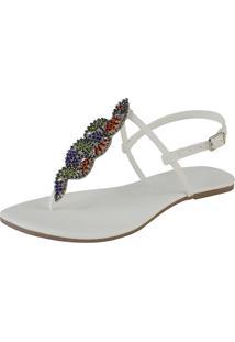 Rasteira Mercedita Shoes Napa Branca Com Cobra Coral