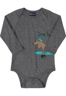 Body Infantil Surf Dog Cinza