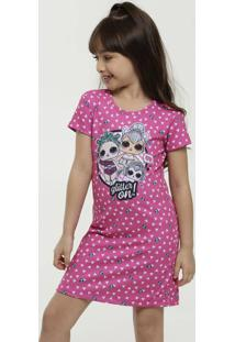 Vestido Infantil Piquet Boneca Manga Curta Lol