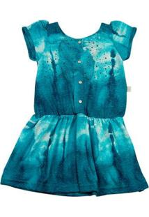 Vestido Infantil Malha Reciclato Estampada - Turquesa 1
