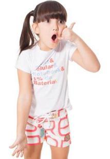 Camiseta Infantil Tablet Celular Reserva Mini Feminina - Feminino-Branco