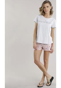 "Pijama ""Monday"" Cinza Mescla"