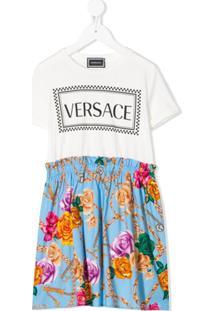 Young Versace Vestido Reto Com Recortes - Branco