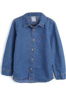 Camisa Hering Kids Infantil Lisa Azul