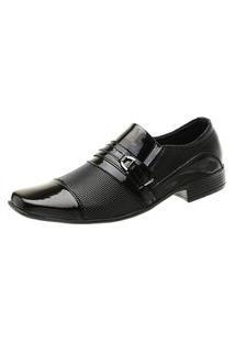 Sapato Social Masculino Bico Fino Mr Shoes Preto Verniz