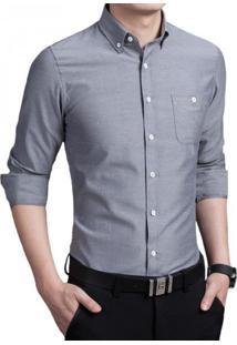 Camisa Masculina Slim Manga Longa - Cinza Xg