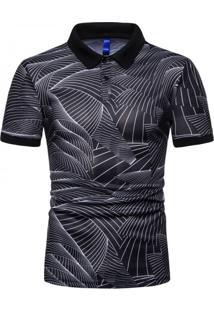 Camisa Polo Join Venture Estampada - Preto