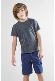 Camiseta Infantil Mini Sm Listra Indigo Reserva Masculina - Masculino-Preto