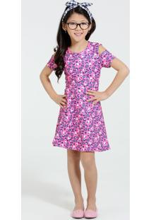 Vestido Infantil Minnie Manga Curta Vazada Disney