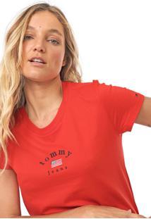 Camiseta Tommy Jeans Essential Americana Vermelha - Kanui