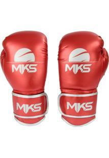 b9c3fa756 Luva Boxe Muay Thai Mks Combat Energy Vermelho Metalizada