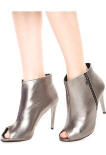 Open Boot Dafiti Shoes Metalizada Prata