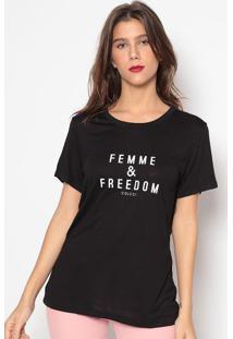 """Camiseta """"Femme & Freedom""""- Preta- Colccicolcci"""