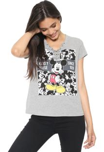 Camiseta Cativa Disney Lace Up Cinza