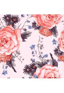Papel De Parede Adesivo Flores Fundo Rosa (0,58M X 2,50M)