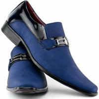 e855db8c4f Sapato Social Gofer Estilo Italiano Em Couro Legítimo Masculino - Masculino- Azul