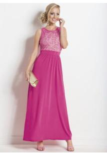 Vestido Longo Transparência Costas Pink