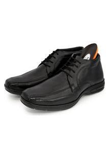 Sapato Social Cano Alto Br2 Footwear Comfort Gel Couro Preto