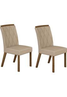 Conjunto Com 2 Cadeiras Esmeralda Ipê E Veludo Palha