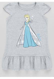Vestido Infantil Elsa Frozen Com Babado Manga Curta Cinza Mescla