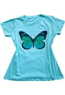 Camiseta Borboleta Feminina - Feminino-Verde