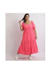 Vestido Feminino Mindset Plus Size Midi Canelado Com Babado Manga Curta Bufante Pink