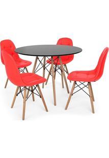 Conjunto Mesa Eiffel Preta 90Cm + 4 Cadeiras Dkr Charles Eames Wood Estofada Botonê Vermelha