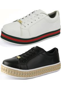 Kit Sapatenis Confort Flatform Cr Shoes Preto E Branco Com Vermelho