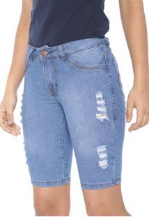 Bermuda Jeans Grifle Company Ciclista Destroyed Azul