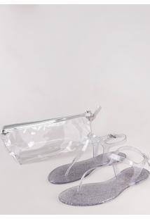 Kit De Rasteirinha Feminina Oneself Transparente Com Glitter + Nécessaire Prateada