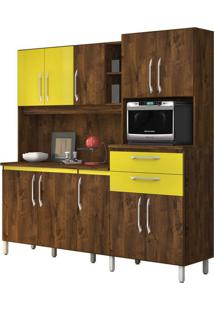 Armário De Cozinha Rubi 10 Portas Malbec Com Amarelo Vitamov