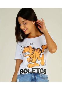 Camiseta Estampada Garfield Manga Curta Feminina - Feminino-Branco