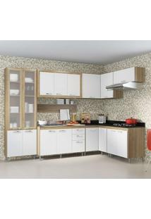 Cozinha Compactas 8 Peças 5714-T8 Com Vidro - Toscana - Multimóveis - Argila / Branco / Preto
