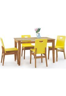 Mesa Com 4 Cadeiras De Jantar Tucupi 120Cm - Acabamento Nozes E Laca Amarelo