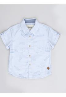 Camisa Infantil Estampada De Tubarões Surf Com Bolso Manga Curta Azul Claro