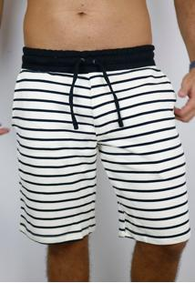 Bermuda Striped Black & Off - Listrado - Masculino - Algodã£O - Dafiti