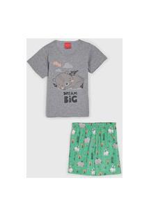 Pijama Tricae Curto Infantil Estampado Cinza/Verde