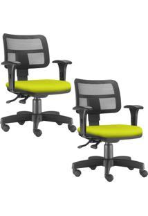 Kit 02 Cadeiras Giratórias Lyam Decor Zip Suede Amarelo - Tricae