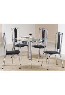 Conjunto De Mesa Com 4 Cadeiras Bela Prata E Preto