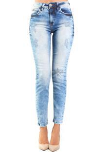 Calça Jeans Skinny Destonado Destroyed Médio Bia Colcci