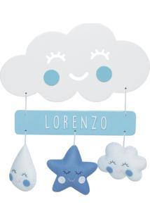 Enfeite Maternidade Chuva Amor Nuvem Azul Nome Bebê Porta