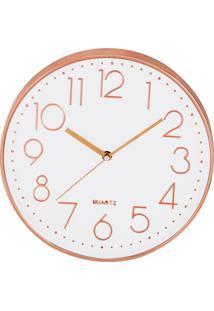 Relógio De Parede Com Borda- Branco & Rosê Gold- Ø30Mart